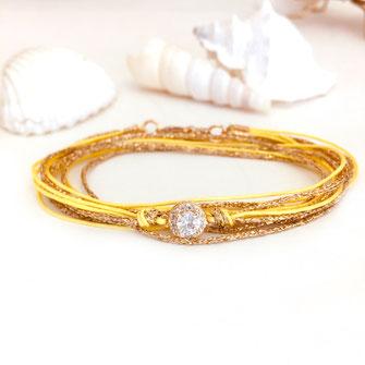 gwapita bijoux bracelets jaune yellow adèle diamant ruban doré