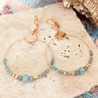 gwapita bijux chloé chloe caraibe boucles d'oreilles earring earrings creation france perles bleu