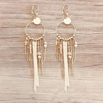 SAMBA boucles d'oreilles nude champagne beige plaqué or doré gwapita créatrice creation longues belles earrings design