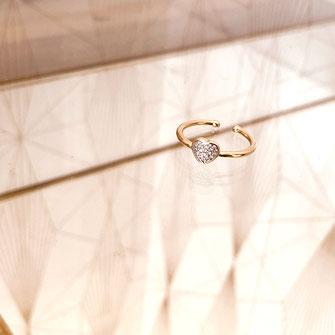 bague bijoux gwapita doré plaqué or coeur diamant joaillerie brillant blanc zirconium saint Valentin amour cadeau