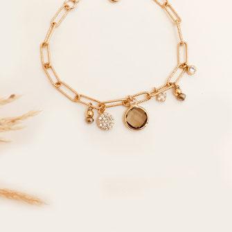 bracelet doré plaqué or fin Gwapita bijoux créatrice française france Hugo papille beige marron brune gros maillons chaine