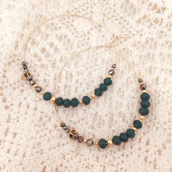 gwapita boucles d'oreilles ROMY MAXI vert créoles creole
