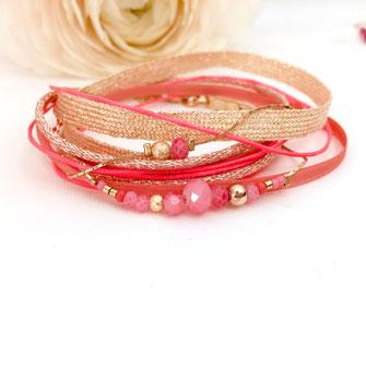 Gwapita fernando corail orangé rose multi rubans multirangs doré