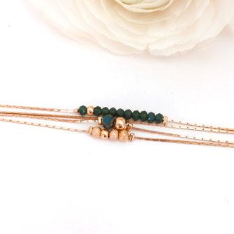 Bracelet vert thelma perles doré or gwapita bijoux
