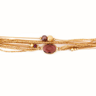 jules gwapita bracelet bijoux double tour multirangs ruban chaine perles rouge bordeaux or plaqué doré