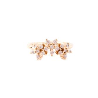 bague flower doré gwapita bague gwapita oxyde de zirconium fiançailles blanc brillant diamants doré or