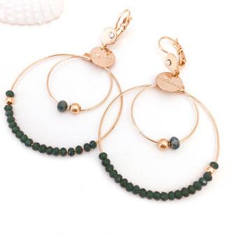 gwapita olivia creole double doré perles femme fine essentielle iconiques  verte vert green