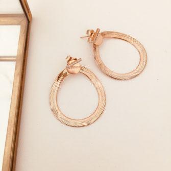 boucles d'oreilles gwapita Sophia serpent chaine doré plaqué or chic bijoux