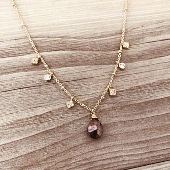collier choker necklace gwapita bijoux français france createur fin doré plaqué or pierre fine naturelle marron