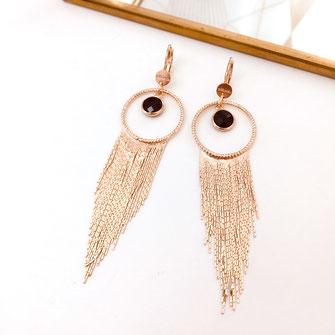 boucles d'oreille Salomé noir gwapita bijoux femme fin doré zirconium diamants