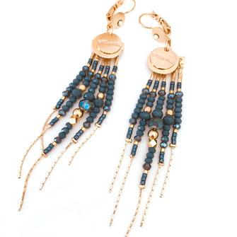 boucles d'oreilles earrings diva gwapita longue perles chaines fines
