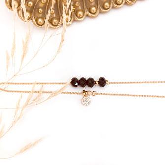 Gwapita Brooklyn noir chaine perles zirconium bijoux bracelets