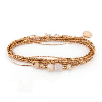 gwapita bracelet Alex creme ruban doré perles