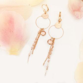 gwapita boucles d'oreilles bijoux création doré  rose poudré clyde