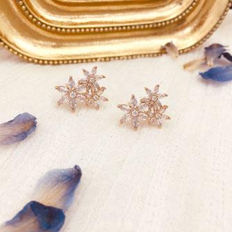 boucles d'oreilles gwapita doré plaqué or creatrice ronde Joss Joséphine fleurs loyers blanches