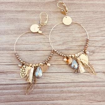 boucles d'oreilles graphita grosse gipsy pendantes pompons plumes perles doré pyrite