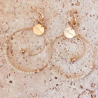 gwapita bijoux olivia iconiques boucles d'oreilles earrings creoles doucles anneaux perles beige