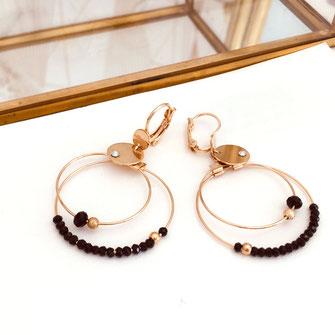 gwapita bijoux creation créoles noir perles double doré fin femme boucles d'oreilles bijoux earrings