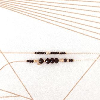 bracelet doré plaqué or fin Gwapita bijoux créatrice française france perles noir