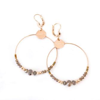Chloé gwapita boucles d'oreilles earrings earring kaki ronde creoles perle