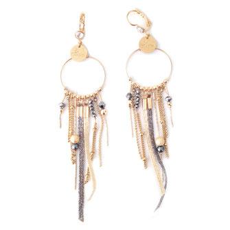 SAMBA boucles d'oreilles grise doré gwapita créatrice creation longues belles earrings design
