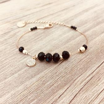 bracelet doré plaqué or fin Gwapita bijoux créatrice française france Paula new noir