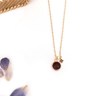 Collier gwapita anneau rond noir isidor noir pierre sertie
