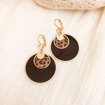 boucles d'oreilles gwapita doré plaqué or creatrice ronde  panthère noir savane chic