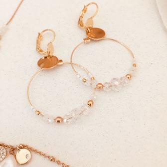 boucles d'oreilles fleurs doré fine raffiné gwapita wapita new bijoux Josephine creole anneau petite plaqué or doré gold mini Chloe blanc