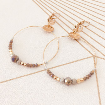 Chloé gwapita boucles d'oreilles earrings earring gris polaire ronde creoles perle