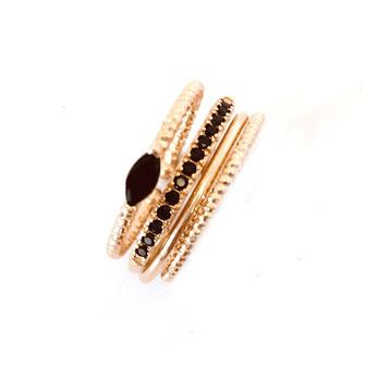 Olivia bague noir doré gwapita bijoux