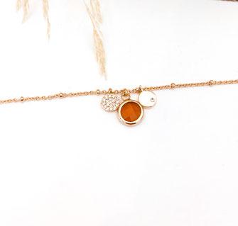 Igor bracelet doré plaqué or fin Gwapita bijoux créatrice française france caramel camel marron
