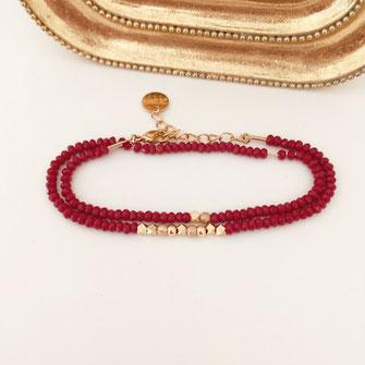bracelet gwapita Livia rouge bordeaux marsala perles doré double