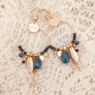 gwapita boucles d'oreilles creation bijoux Valentina bleu breloques