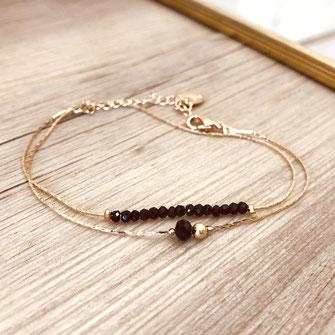 bracelet doré plaqué or fin Gwapita bijoux créatrice française france new noir Anaïs double chaine fine
