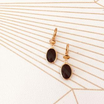 boucles d'oreilles doré gwapita bijoux best-seller longue fine chaine perles noir oval