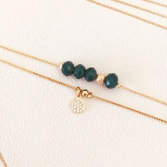bracelet doré plaqué or fin Gwapita bijoux créatrice française france marron perles fin vert perles