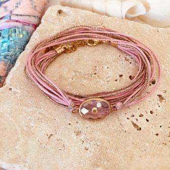 bracelet alysée rose gwapita ruban pierre cristal doré