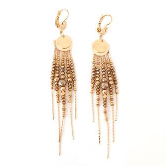 boucles d'oreilles gwapita belle grosse longues createur créatrice perles doré plaqué or bijoux earrings nude longues perles chaines pyrite