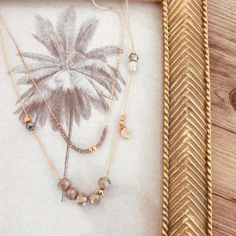 collier gwapitya bijoux boucles perles MILLA gris opal or