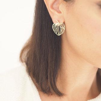 boucles d'oreilles gwapita doré plaqué or creatrice feuille filigrane coeur doré mode femme bijoux