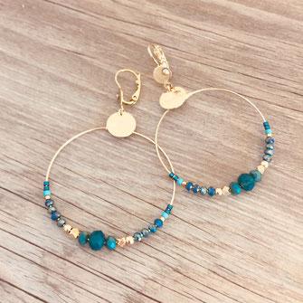 bijoux boucles d'oreilles anneaux créoles vert rondes grande fine doré gwapita perles