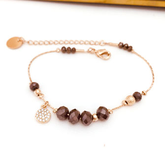 gwapita paula bracelet choco marron perles doré or