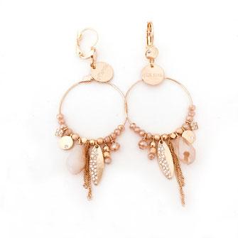 gwapita boucles d'oreilles earrings creation France Valentina nude beige doré or