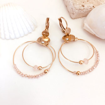 gwapita mini olivia rose poudré anneaux double fin mini petite or doré