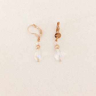 bo boucles d'oreilles gwapita wapita new collection creation bijoux mathilde perle d'eau douce jewels jewelry earrings gold plated plaqué or doré France Nicole cristal