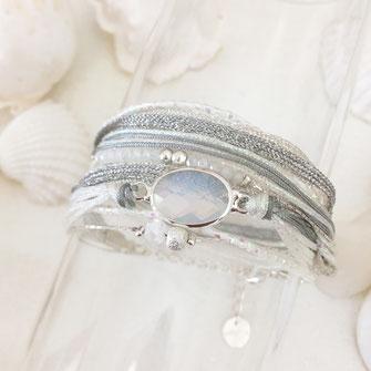 rubans multirangs liens cordons perles pierre blanc gwapita bijoux longues argent argenté Paola bracelet