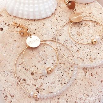 gwapita boucles d'oreilles bijoux création doré  OLIVIA blanc doucle anneau créoles perles