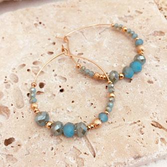 gwapita creole romy petite bleu turquoise caraibe perles doré