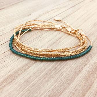 bracelet gwapita bijoux français france createur fin doré plaqué or perles  vert